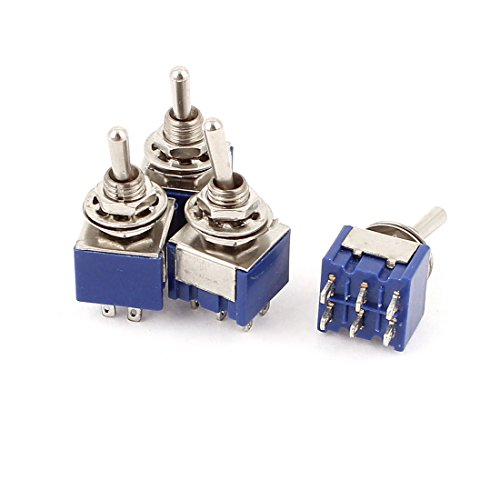 51 2 Position 6Pins DPDT ON-OFF Micro Mini Toggle Switch, AC 6 Amp, 125V, 4 Piece (6 Mm Toggle)