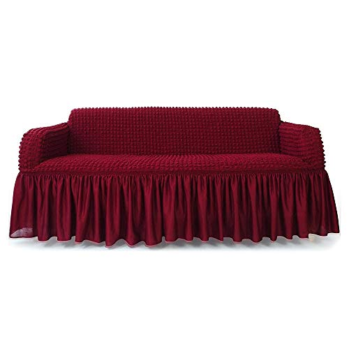 STARS 1-Piece Stretchable Easy Fit Sofa Cover Durable Furniture Slipcover in Country Style Made of Machine Washable and Quick-Drying Fabric for 3-seat sofa and couch(Sofa,Wine Red) by