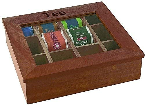 Aps Grandes Caja para t/é 12/Compartimentos, Aprox. 30/x 28/cm, Altura 9/cm de Color Rojo marr/ón Caja de Madera con Ventana de acr/ílico