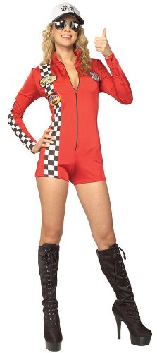 [Secret Wishes Women's Red Racer Adult Romper Costume, Multicolor, Medium] (Girl Racer Halloween Costume)