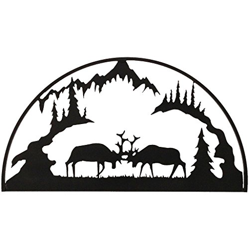 7055 Inc Rustic Elements Fighting Elk Hoop Metal Wall Art, Hammered Black