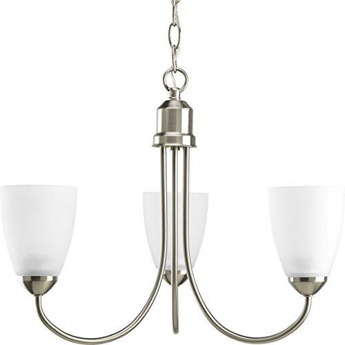 - Progress Lighting P4440-09EBWB Gather Collection 3-Light Chandelier, Brushed Nickel