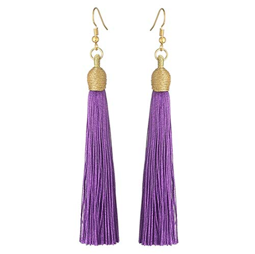 Coral Purple Earrings - Boho Thread Long Tassel Dangle Drop Fringe Earrings Silk Fabric Vintage Charms Eardrop (Dark Purple)