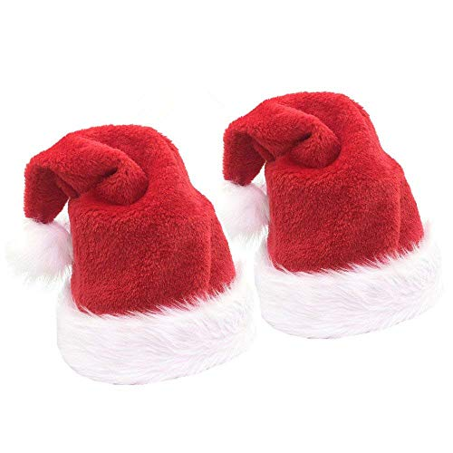 2pcs Christmas Santa Hat,Thickened Luxury Plush Christmas Hat Santa Claus Cap Xmas Hat for -