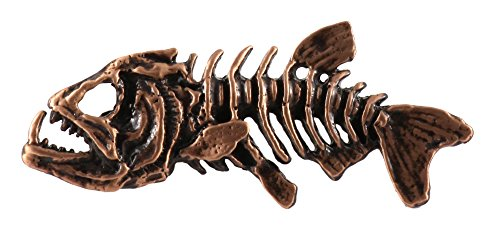 (Creative Pewter Designs Skeleton Fish Freshwater Fish Copper Plated Lapel Pin, Brooch, Jewelry, FC112)