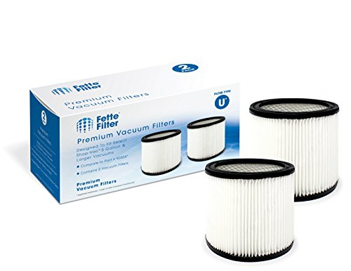 Fette Filter - Cartridge 5-Gallon Filter Compatible with Shop-Vac. Compare to Part # 90304, 9030400. Filter U (Pack of 2)