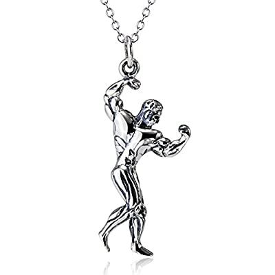 925 Sterling Silver Muscle Man Bodybuilder Pendant Biceps Flex Sports Necklace, Rolo Chain 18""