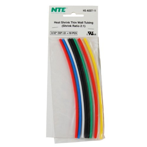 NTE Electronics HS-ASST-11 Thin Wall Heat Shrink Tubing Kit, Assorted Colors, 6