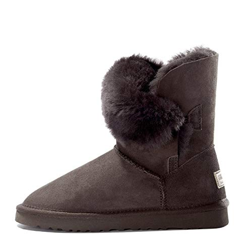 Brown Fumak Women Cow Suede Mid-Calf Boots Soft Genuine Leather Warm Wool Fur Snow Boots Women for Ladies Autumn Winter shoes Woman