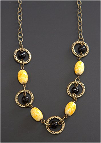 Yellow & Brass Necklace - Antique Brass Tone Cable Chain, Light Yellow Speckled Barrel Beads, Round Black Beads, 17-in