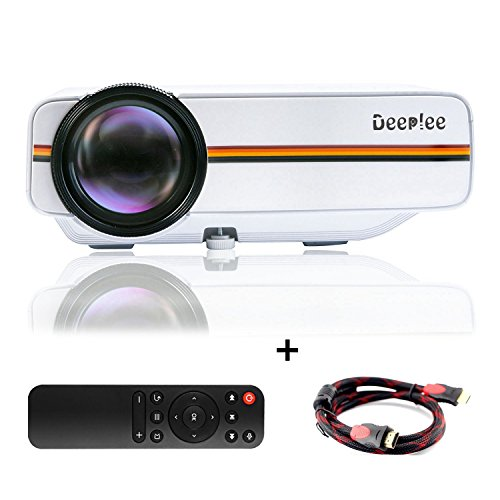 DeepLee DP400 Mini Projector,1000 Lumen LED LCD Home Theater Video Projector with HDMI AV VGA USB SD HD PC Laptop Xbox PS4 DVD Player for Video Game Movie Night Family Video and Picture -White