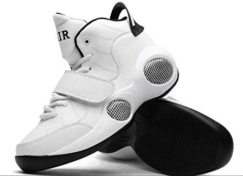 CSDM Uomo Respirabile Extra Largo Movimento più spessa Casual Running Scarpe da Basketball Scarpe da Tennis Sneakers , white , 41