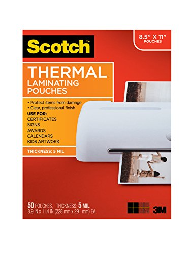 Scotch Thermal Laminating Pouches, 8.9 x 11.4-Inches, 5 mil thick, 50-Pack (TP5854-50) ()