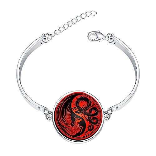 LAROK WAZZIT Silver Bangle Bracelet Dragon and Phoenix Adjustable Bracelets with Round Charm Glass Pendant Love Gift ()