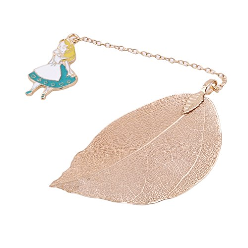 (LALANG 1 Pcs Lovely Alice Rabbit Bookmarks Golden Color Leaf Texture Reading Pages Books Mark Student Stationery (01))