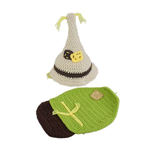 ENCOCO Baby Newborn Photography Props Outfit Girls Boys Handmade Crochet Scarecrow Photo Costume Set -