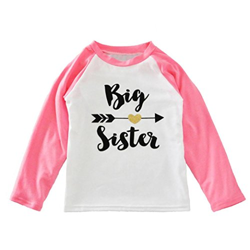 [EKIMI Toddler Kids Girls Clothes Letter Print Long Sleeve T-shirt Blouse Tops (2T, Pink)] (Funny 2 People Costume)