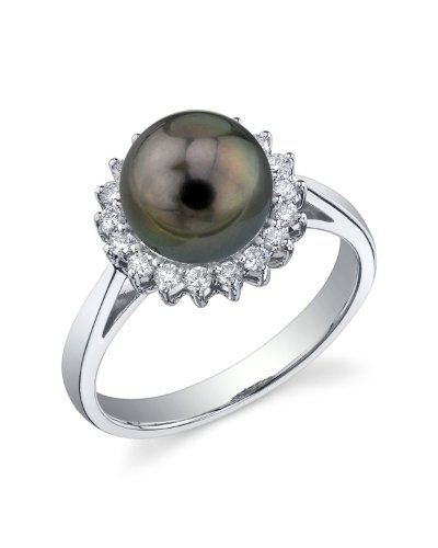 THE PEARL SOURCE 14K Gold 8-9mm Round Genuine Black Tahitian South Sea Cultured Pearl & Diamond Solar Ring for Women
