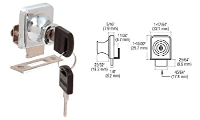 "CRL Chrome Plated Lock for 1/4"" Cabinet Glass Doors - Keyed Alike"