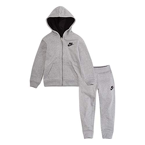 NIKE Children's Apparel Baby Boys' Toddler Hoodie and Joggers 2-Piece Outfit Set, Dark Grey Heather, 2T