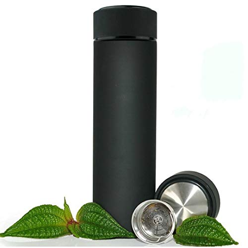 (Stainless Steel Travel Mug - TEA INFUSER Bottle - Double Wall Insulated HOT COFFEE THERMOS - Cold FRUIT INFUSED Water Flask - Food Grade LEAK PROOF 17 Oz)