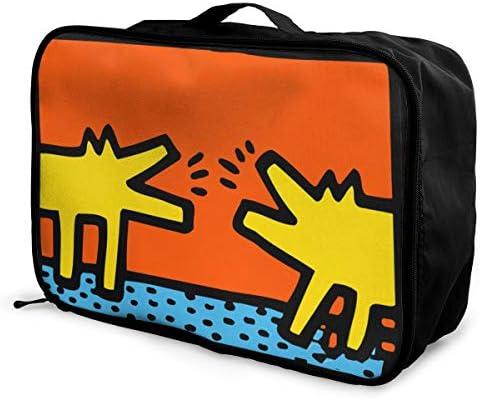 トラベルポーチ アレンジケース キース ヘリング 犬 旅行収納バッグ 衣類収納バッグ 収納専用ポーチ 手提げ 短期出張 多機能 ファスナー 収納便利グッズ 軽量 大容量 便利 ビジネス 海外旅行 整理用