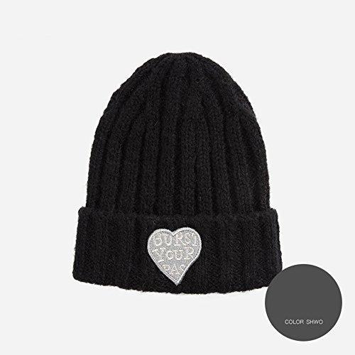 FEIFEI lana di ed protezione la antivento a Nero Colore caldo del moda inverno Nero moderna elastico maglia Cappello lavorato autunno regolabile mantenga alla cono con di ErFnqr