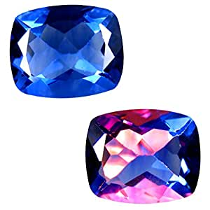 4.73 ct Cushion (11 x 9 mm) Brazil Color Change from Blue to Purplish Red Fluorite Natural Loose Gemstone
