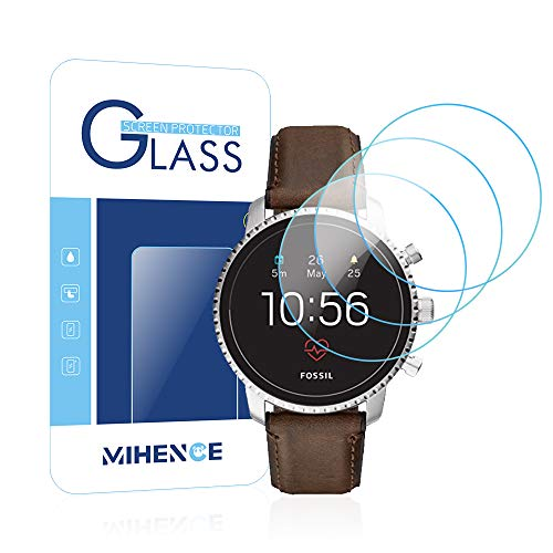 [ 3PCS ] Mihence Compatible Fossil Mens Gen 4 Q Explorist HR Smartwatch Tempered Glass Screen Protector, 2.5D Rounded Edges 9H Premium Real Screen Protector for Fossil Q Explorist HR (Gen 4)