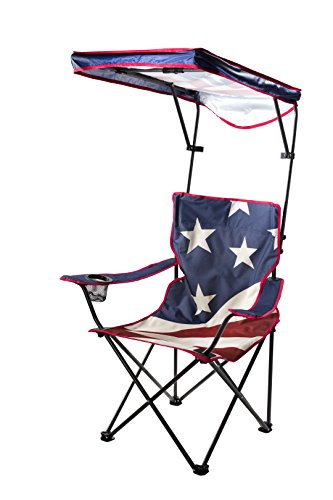 Quik Shade Adjustable Canopy Folding Shade Chair, American Flag ()