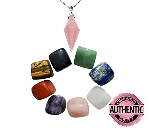 - Chakra Crystal Stones Natural Shape 8 PCS, and Pointed & Faceted Rose Quartz Pendant Suspended on 18