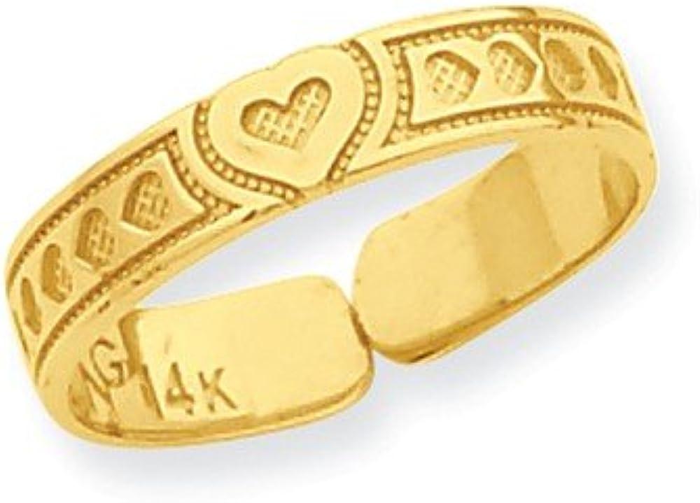 Brilliant Bijou Genuine 14k Yellow Gold Heart Toe Ring Size