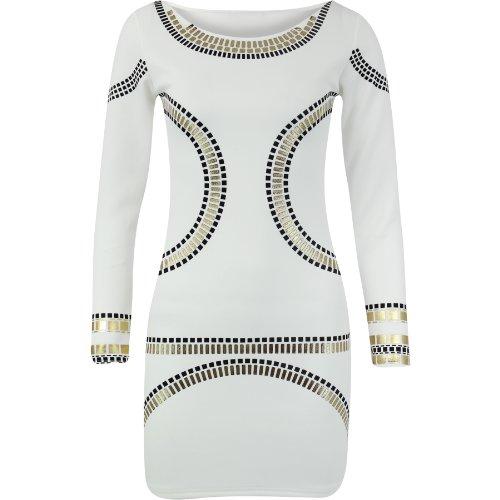 Fashion Wardrobe Womens Gold Foil Mini Dress Celebrity KIM Kardashian Bodycon (US 10-12 UK 12-14 M/L, Cream Gold - Mini Dress Foil