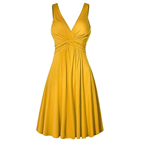 LittleNaNa-Cloth-Dresses Summer Women Dress Formal Solid V-Neck Retro Sling Pleated Slim Flare Sundress,Yellow,4XL