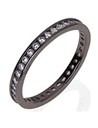 Noureda Sterling Silver Eternity Ring with Black Rhodium and 2.2MM Round Cz, Ring Width of 2.2MM