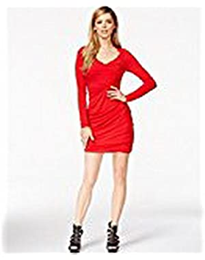 Guess Shirred Cutout Bodycon Dress Red Hot L
