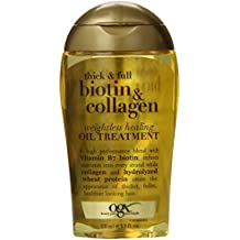 OGX Weightless Healing Oil Treatment Thick and Full Biotin and Collagen, 3.3 oz, Lightweight Volumizing Hair Oil, All Hair Types