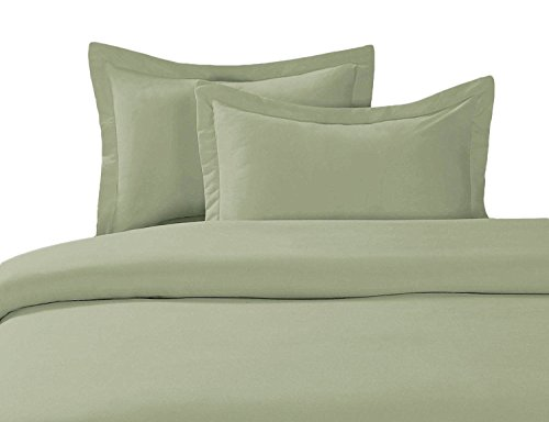 100% Cotton- Duvet Cover Set with Buttons Enclosure, 300TC - Solid Sage, King/California King, 3PC Duvet (King Sage Solid Duvet)