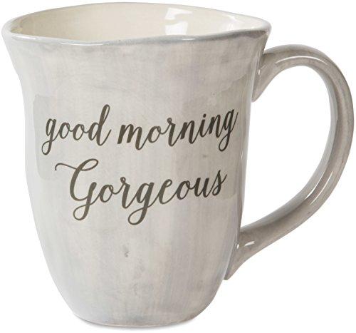 Pavilion Gift Company EmmalineGood Morning Gorgeous Ceramic Coffee Mug, 16 oz, Gray
