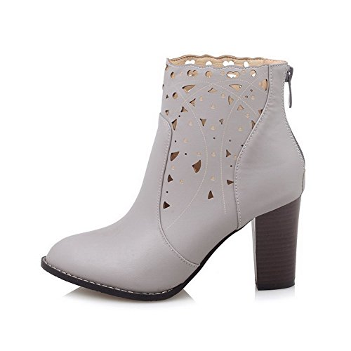 AmoonyFashion Womens Zipper High-Heels PU Solid Low-Top Boots Gray ZllkI9emF