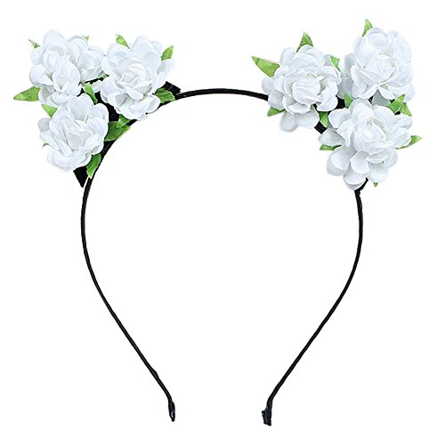 Auranso Rose Flower Devil Cat Ears Headband Costume Party Fancy Dress Cosplay Headdress for $<!--$7.99-->