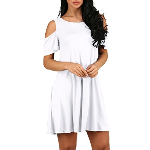 Top With Cold Dress Casual Shirt Women's Shoulder Pockets Swing White Summer Loose MONIKEEN T avF4xz