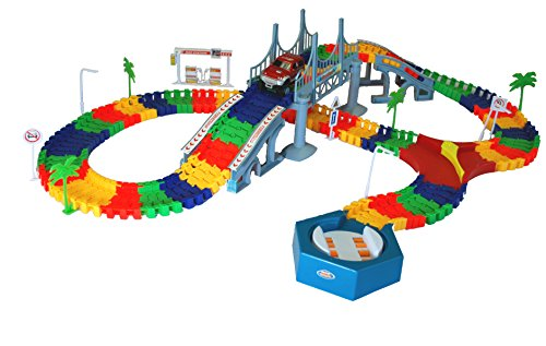Features Snap (MMP Living Super Snap Speedway - bend and flex track set with electric car, bridge feature and accessories - over 213 pieces)