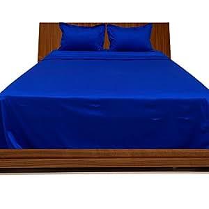 Dreamz cama 550hilos sábana bajera (Deep bolsillo: 26pulgadas) con 2fundas de almohada para cama de matrimonio, Azul/egipcio azul sólido, 100% algodón 550TC bolsillo muy profundo sábana bajera