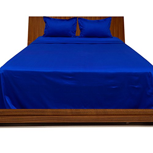 Relaxare Twin 300TC 100% Egyptian Cotton Royal Blue Solid 4PCs WaterBed Sheet Solid (Pocket Size: 13 inches) by Relaxare