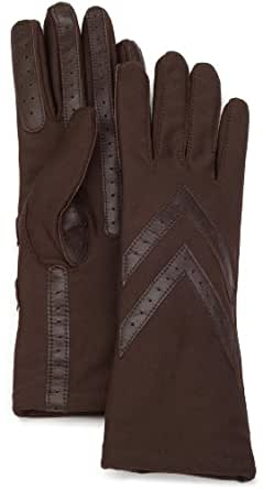 Isotoner Women's Knit Lined Glove with Leather Palm Strips, Brown, One Size