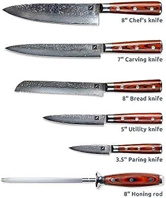 Amazon.com: Zelancio - Juego de cuchillos de acero japonés ...