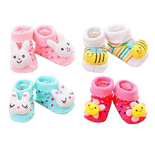 ShopCash Booties Socks for Babies (Booties (4 Pairs))