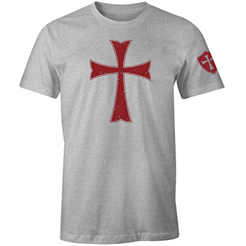 - Knights Templar Crusader Cross Men's T Shirt (Heather Grey, M)