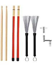 Drum Sticks Set Included 1 Pair 5A Maple Wood Drum Sticks, 1 Pair Drum Wire Brushes Retractable Drum Stick Brush, 1 Pair Rods Drum Sticks and 2 Pack Drum Keys in Storage Bag for Jazz, Folk